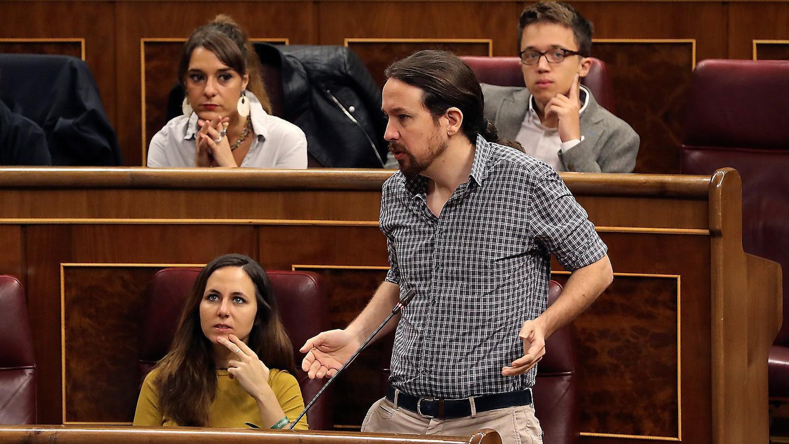 Pablo Iglesias en una imatge de la setmana passada a l'hemicicle del Congrés de Diputats.