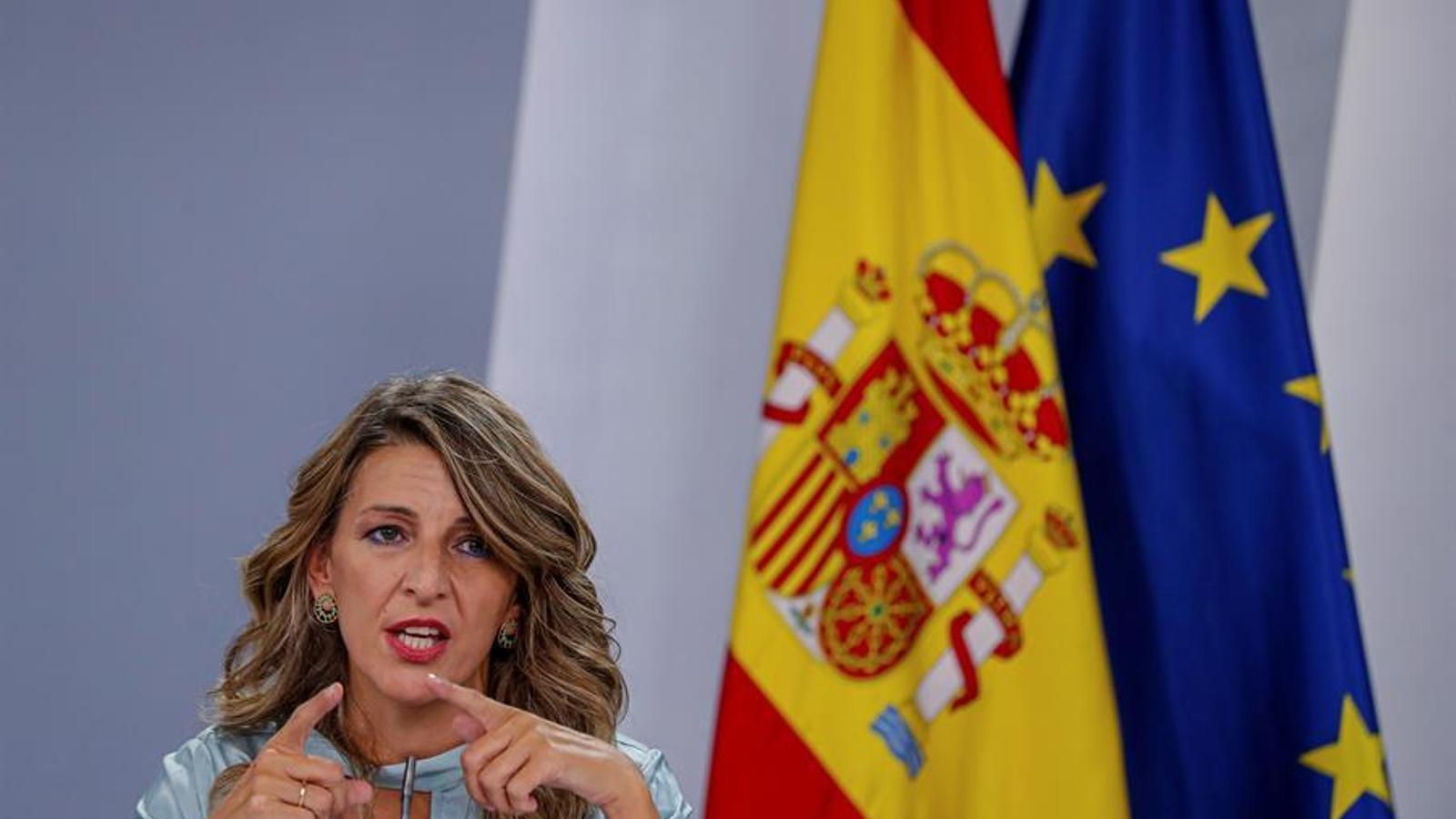 La ministra de treball, Yolanda Díaz, durant la roda de premsa posterior al consell de ministres d'aquest dimarts.