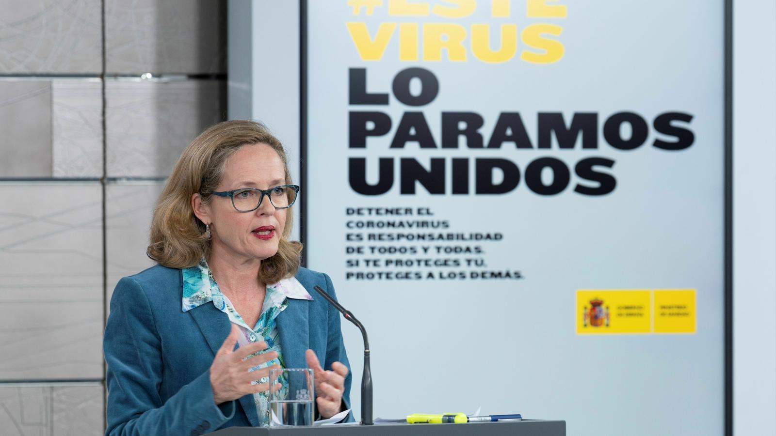 La vicepresidenta econòmica del govern espanyol, Nadia Calviño, aquest dimarts a la Moncloa