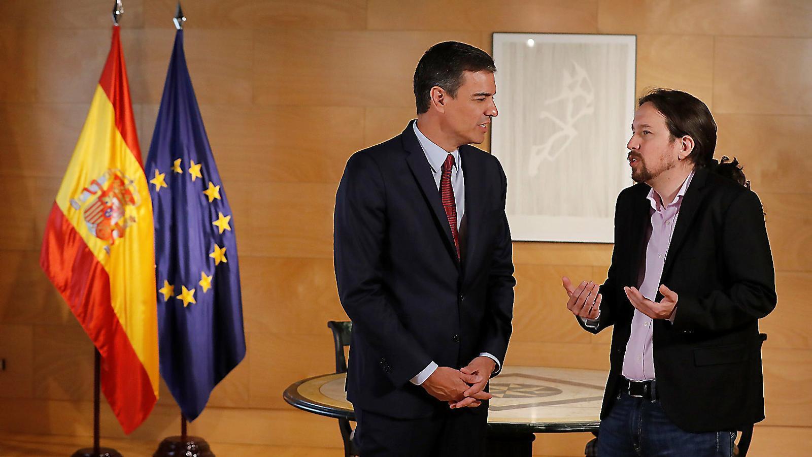 Pedro Sánchez i Pablo Iglesias dimarts passat a la Moncloa.