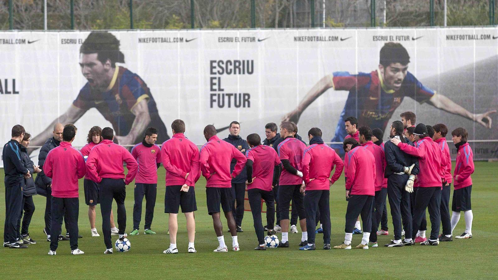 El Barça, durant un entrenament.