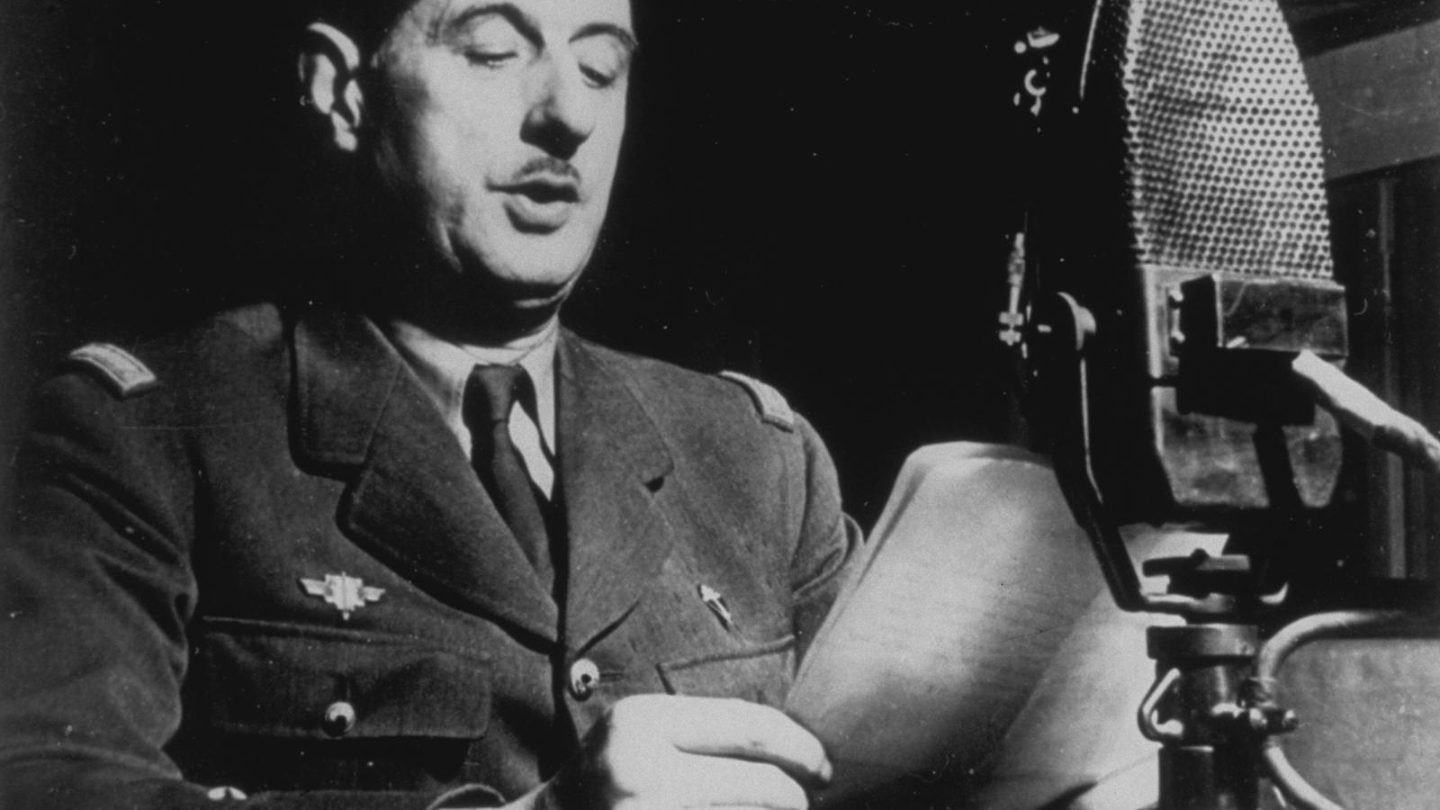 El general De Gaulle a Londres, fent una crida per l'alliberament de França.