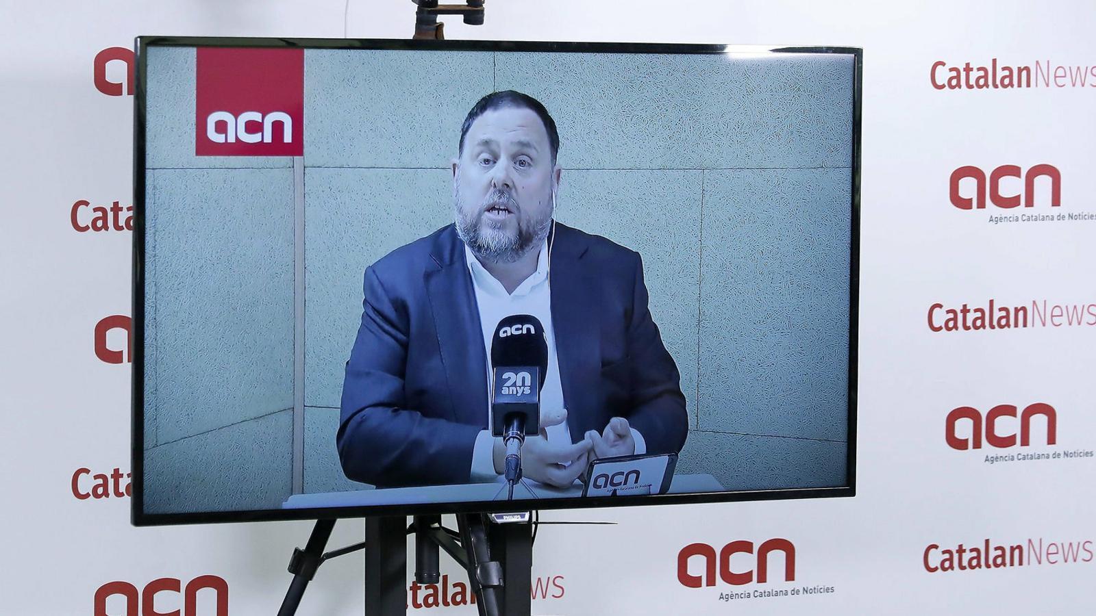 Oriol Junqueras en la roda de premsa de l'ACN abans del 28-A.