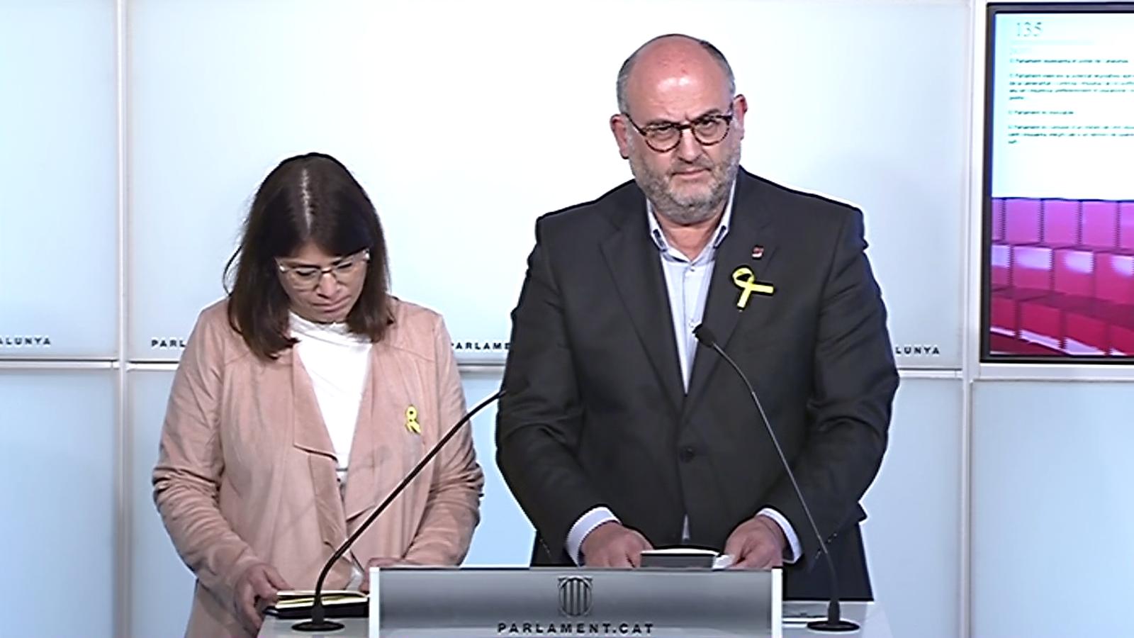 El portaveu de JxCat, Eduard Pujol, titlla de cop d'Estat els tràmits per impugnar la candidatura de Carles Puigdemont, i apunta que Soraya Sáenz de Santamaría ha entrat en desobediència