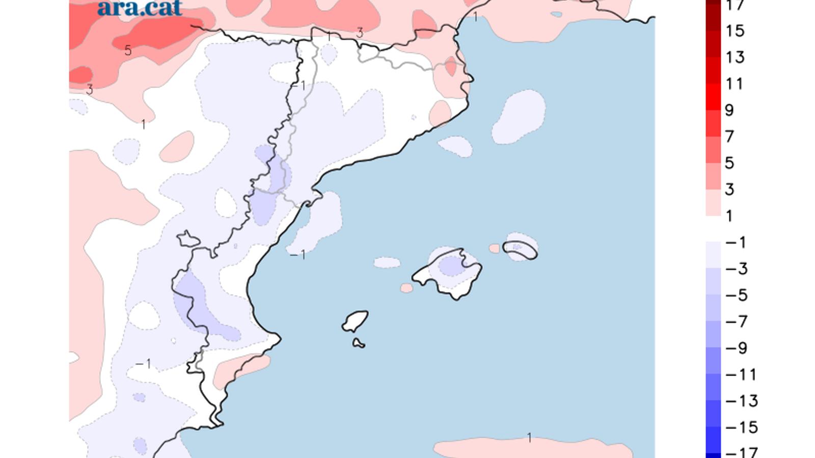 Diferència prevista entre la temperatura màxima d'ahir i la d'avui