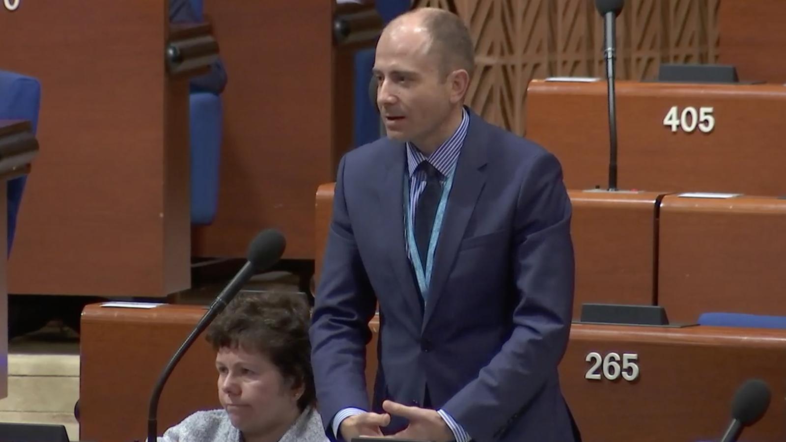 El president de la delegació andorrana a l'Assemblea Parlamentària del Consell d'Europa, Carles Jordana, durant la seva intervenció el passat 25 de gener. / APCE