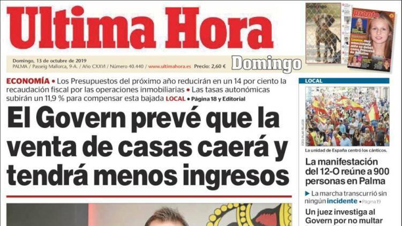 """""""El Govern preveu que la venda de cases caurà i tindrà menys ingressos"""", a la portada de l''Última Hora'"""