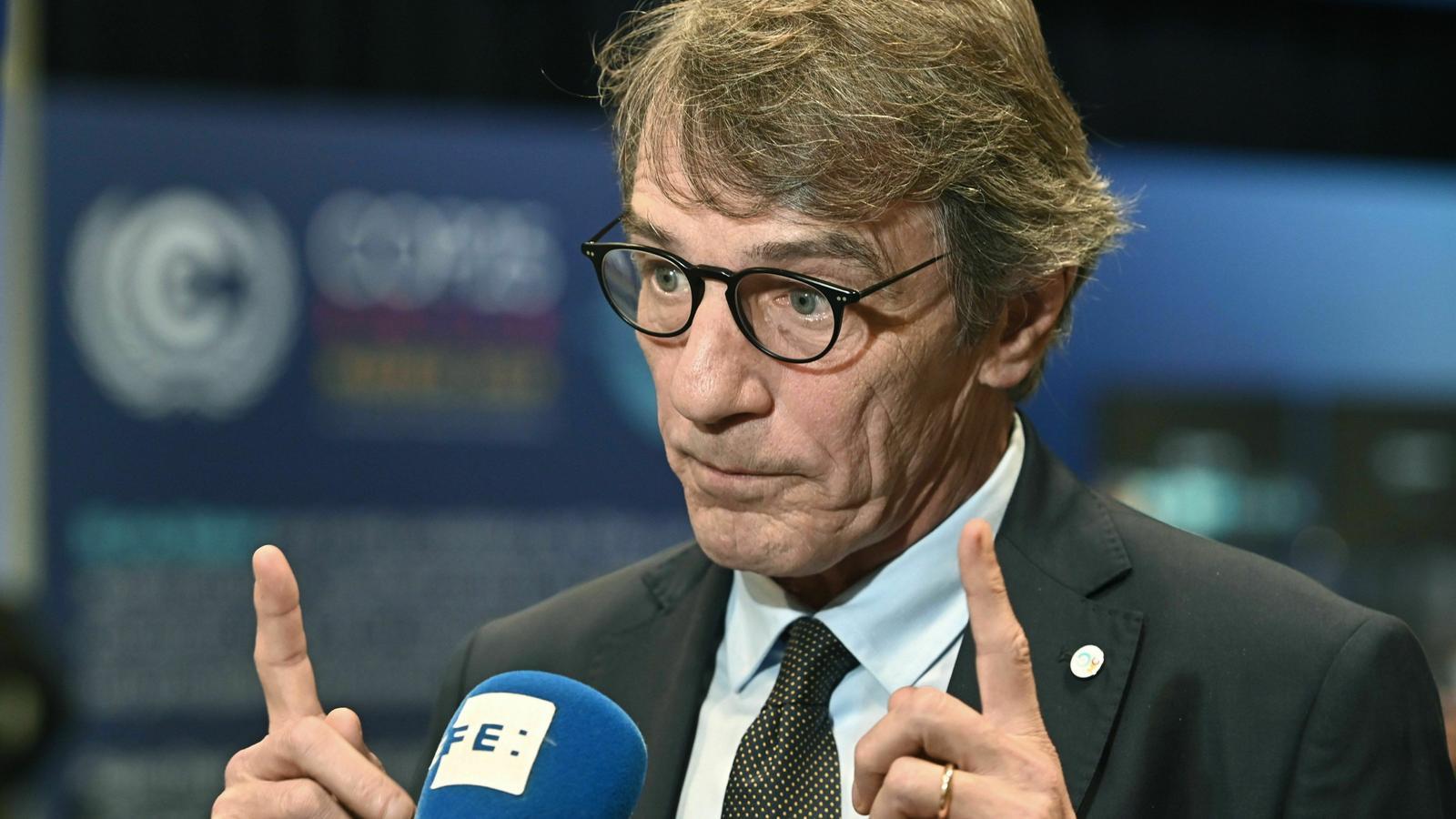El president de l'Eurocambra, David Maria Sassoli.