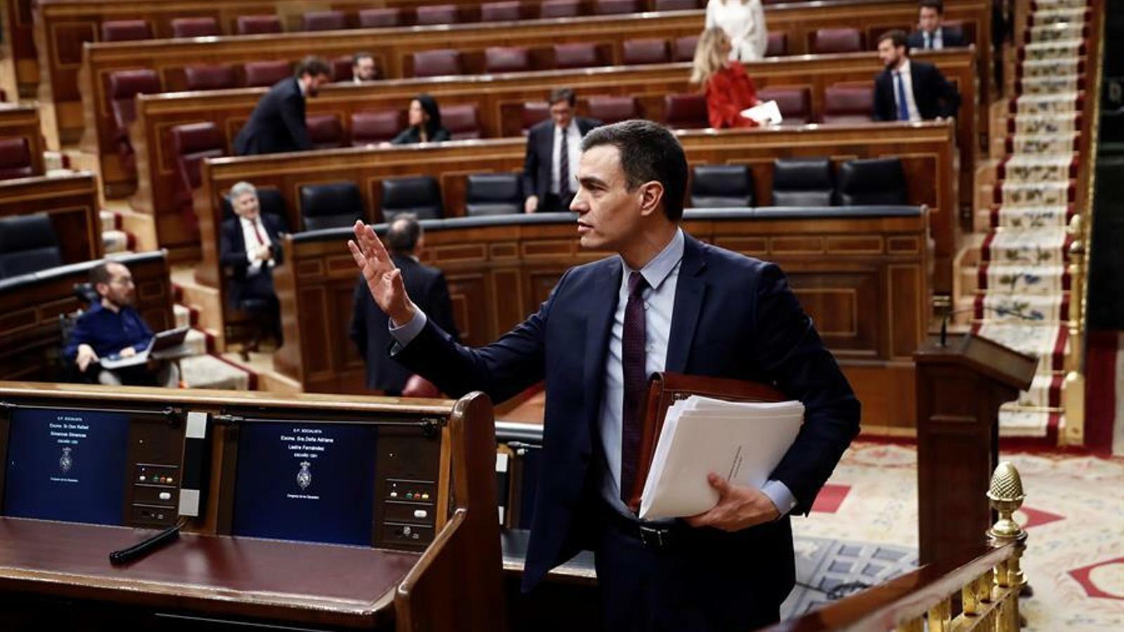 El president del govern espanyol, Pedro Sánchez, en la compareixença al Congrés la setmana passada