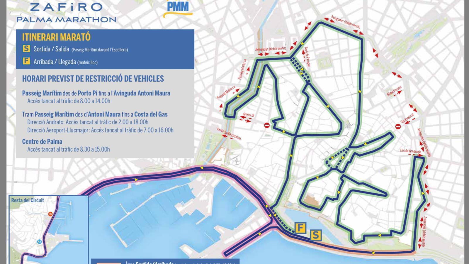 Restriccions de trànsit per a la Marató de Palma