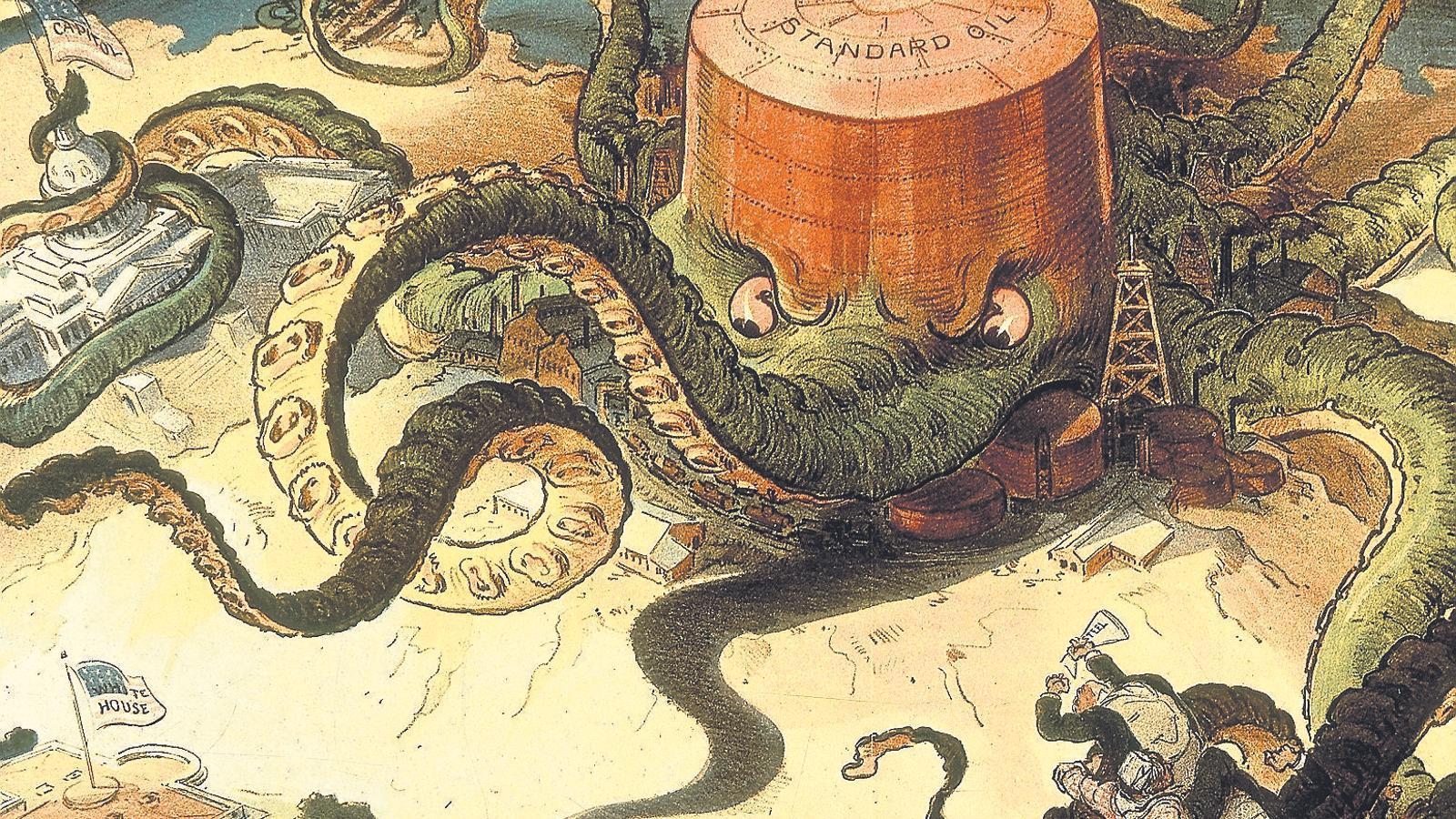 Caricatura de la premsa nord-americana del setembre del 1904 en què es veu la companyia Standard Oil representada com un gran pop amb tentacles que cobreixen tota mena d'indústries, el Capitoli i fins i tot la Casa Blanca