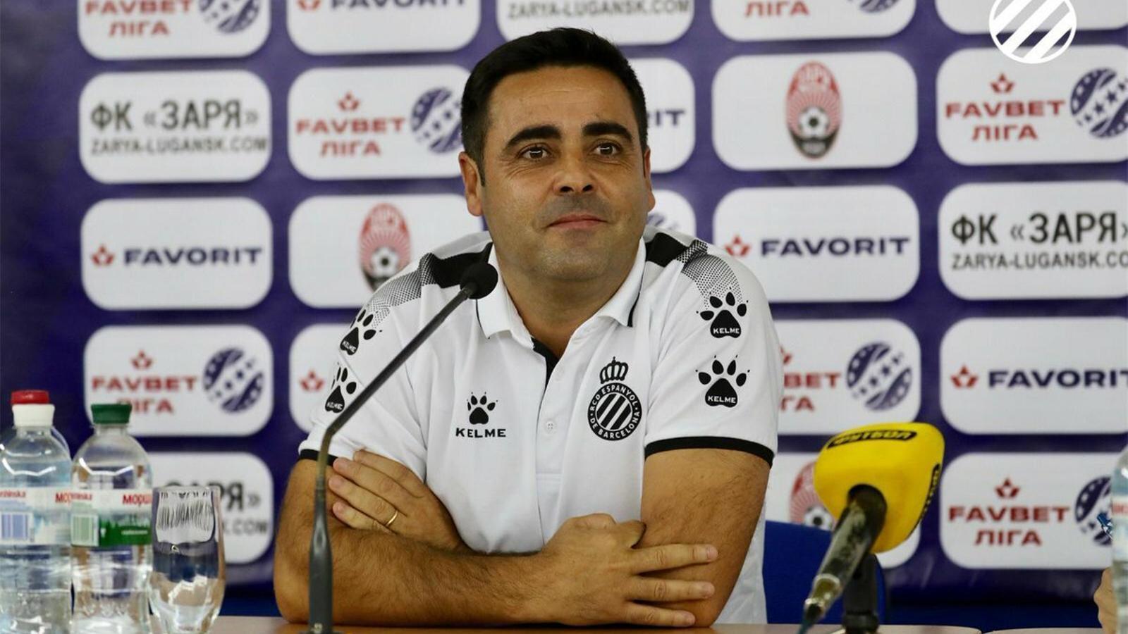 David Gallego, durant la roda de premsa prèvia al partit de tornada contra el Zoryà