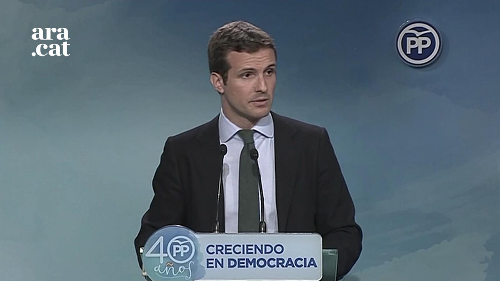 Pablo Casado (PP): Esperem que demà no es declari la DUI, perquè potser [Puigdemont] acaba com qui la va declarar fa 83 anys [Companys]