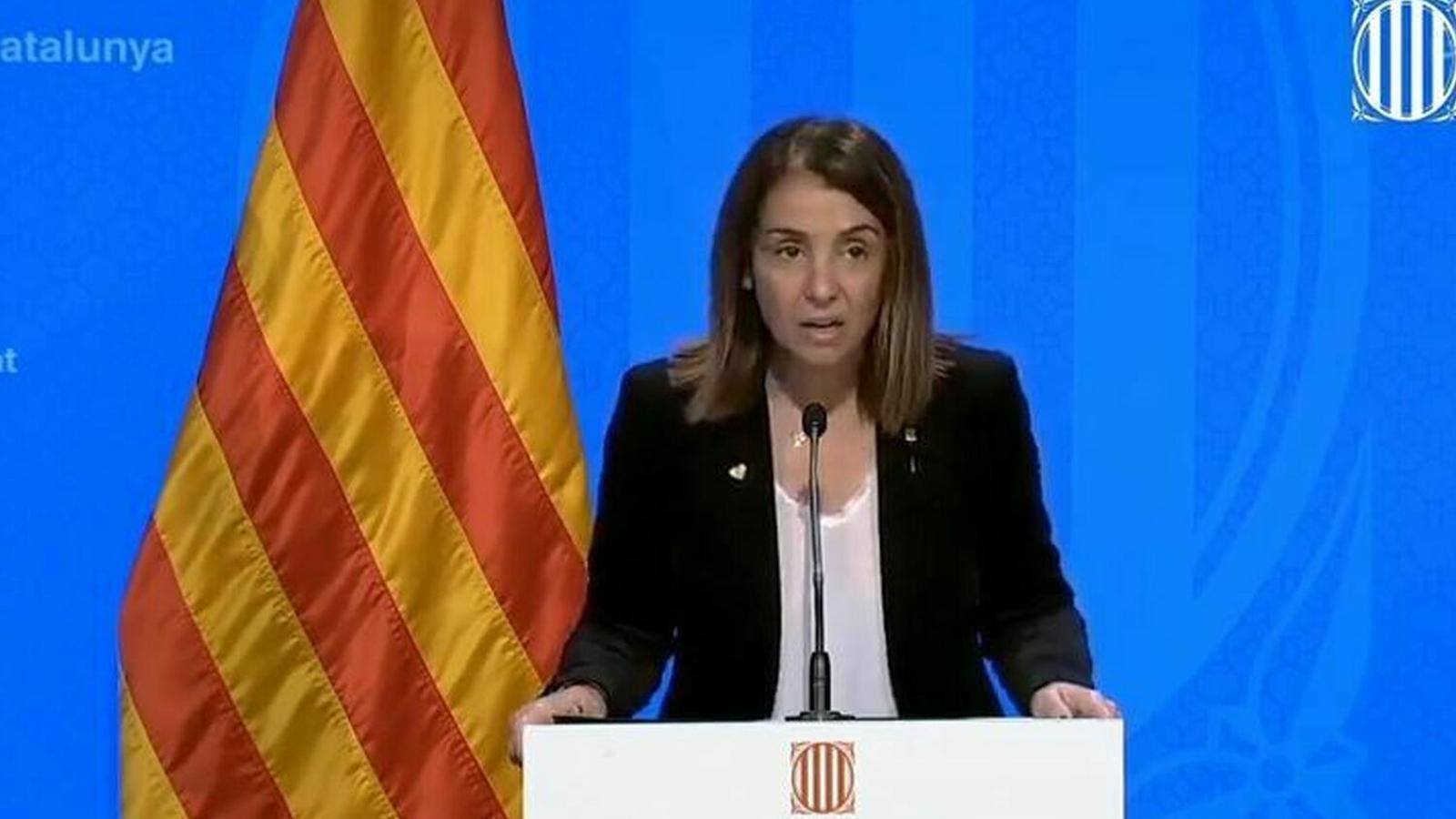 La consellera de la Presidència i portaveu del Govern, Meritxell Budó, en una de les compareixences diàries.