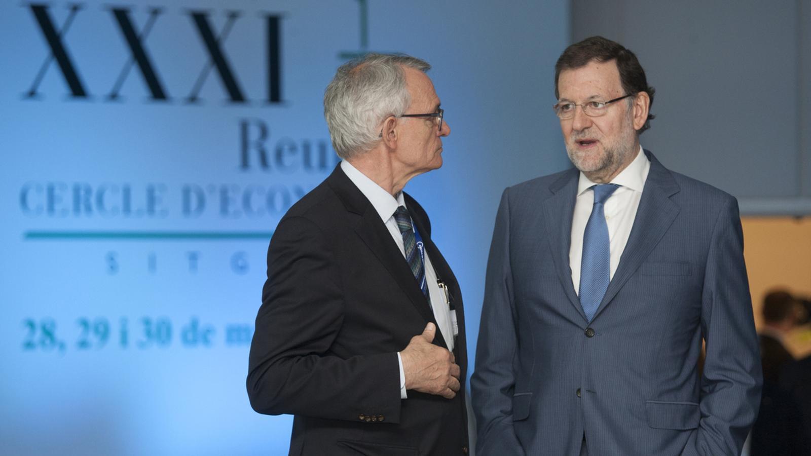 Mariano Rajoy, al costat d'Antón Costas, en la clausura de les jornades del Cercle d'Economia a Sitges / TJERK VAN DER MEULEN