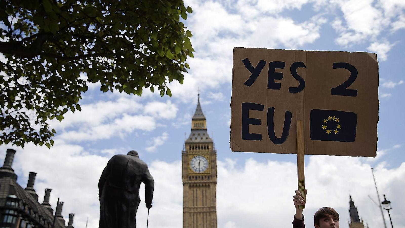 Una manifestació proeuropea davant del Palau de Westminster en què s'han succeït les mostres de suport a la UE.