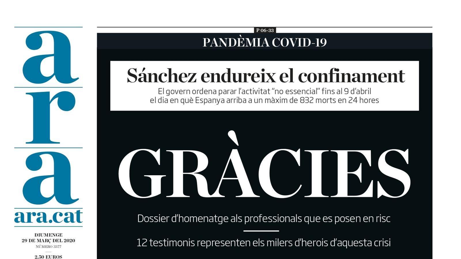 """""""Sánchez tria parar l'economia"""", la portada de l''ABC'"""