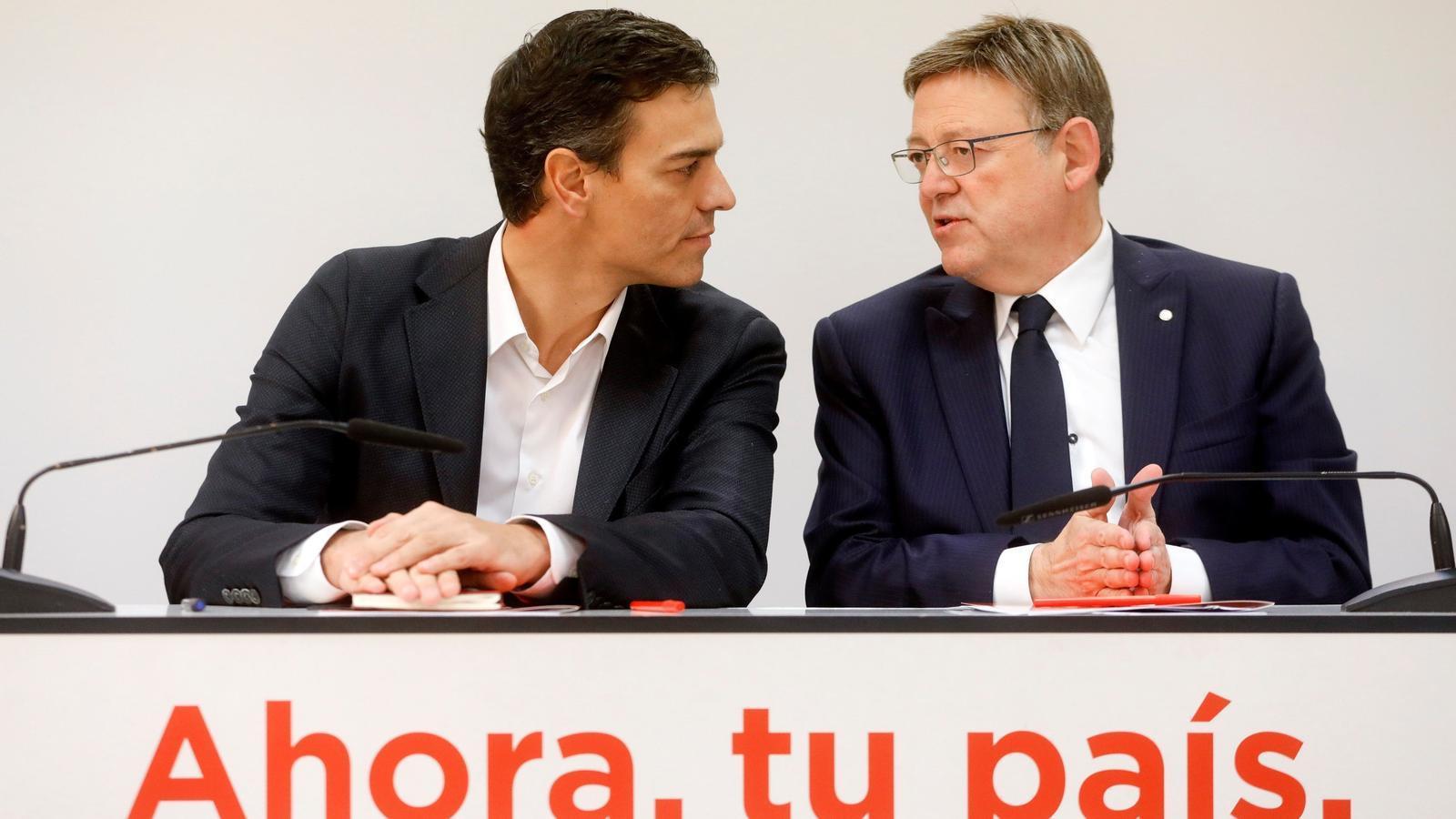 El president de la Generalitat Valenciana, Ximo Puig, i el secretari general del PSOE, Pedro Sánchez.