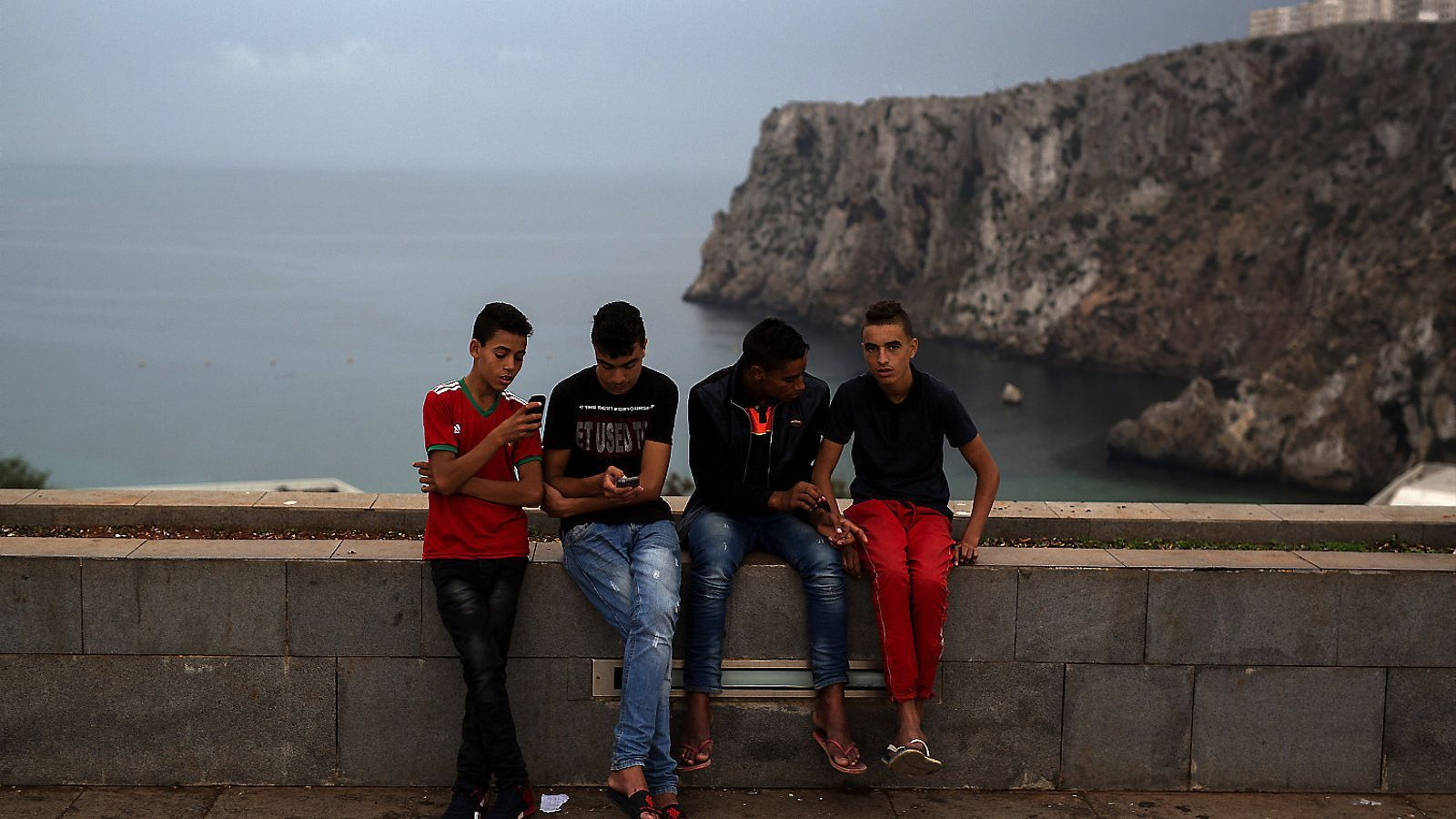 Group of friends at Saha d'Al-Hoceima Square, the epicenter of the popular protests in 2016-17