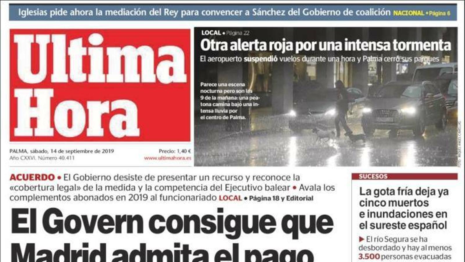 """""""El Govern aconsegueix que Madrid admeti el pagament de la carrera professional"""", portada d''Última Hora'"""