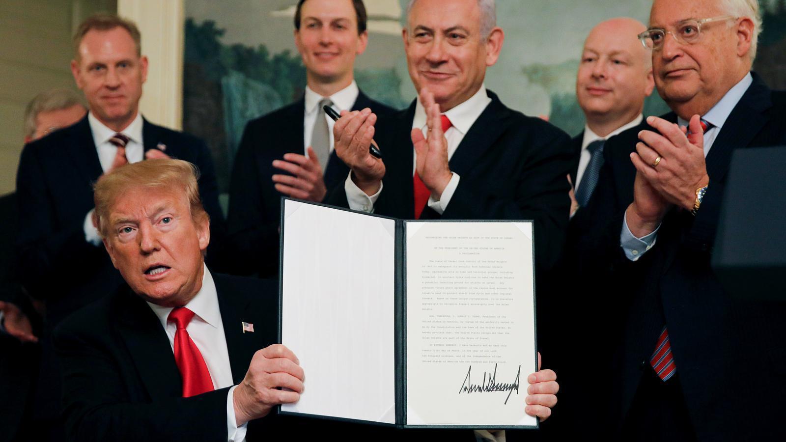 Trump oficialitza la sobirania d'Israel sobre els alts del Golan