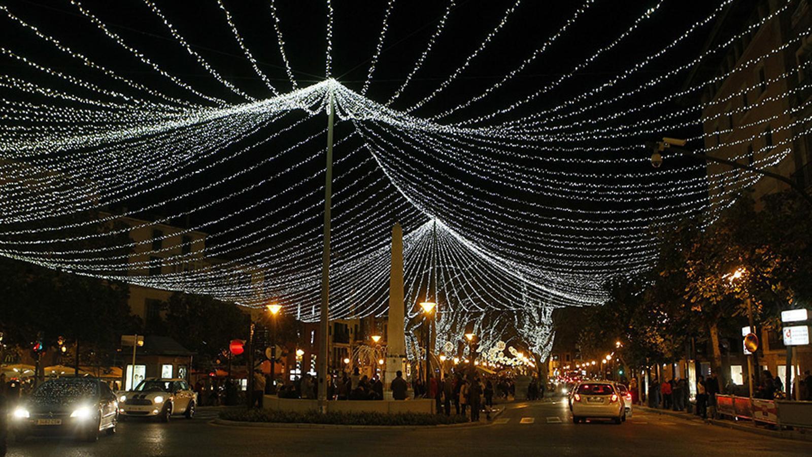 El centre de Palma amb els llums de Nadal.