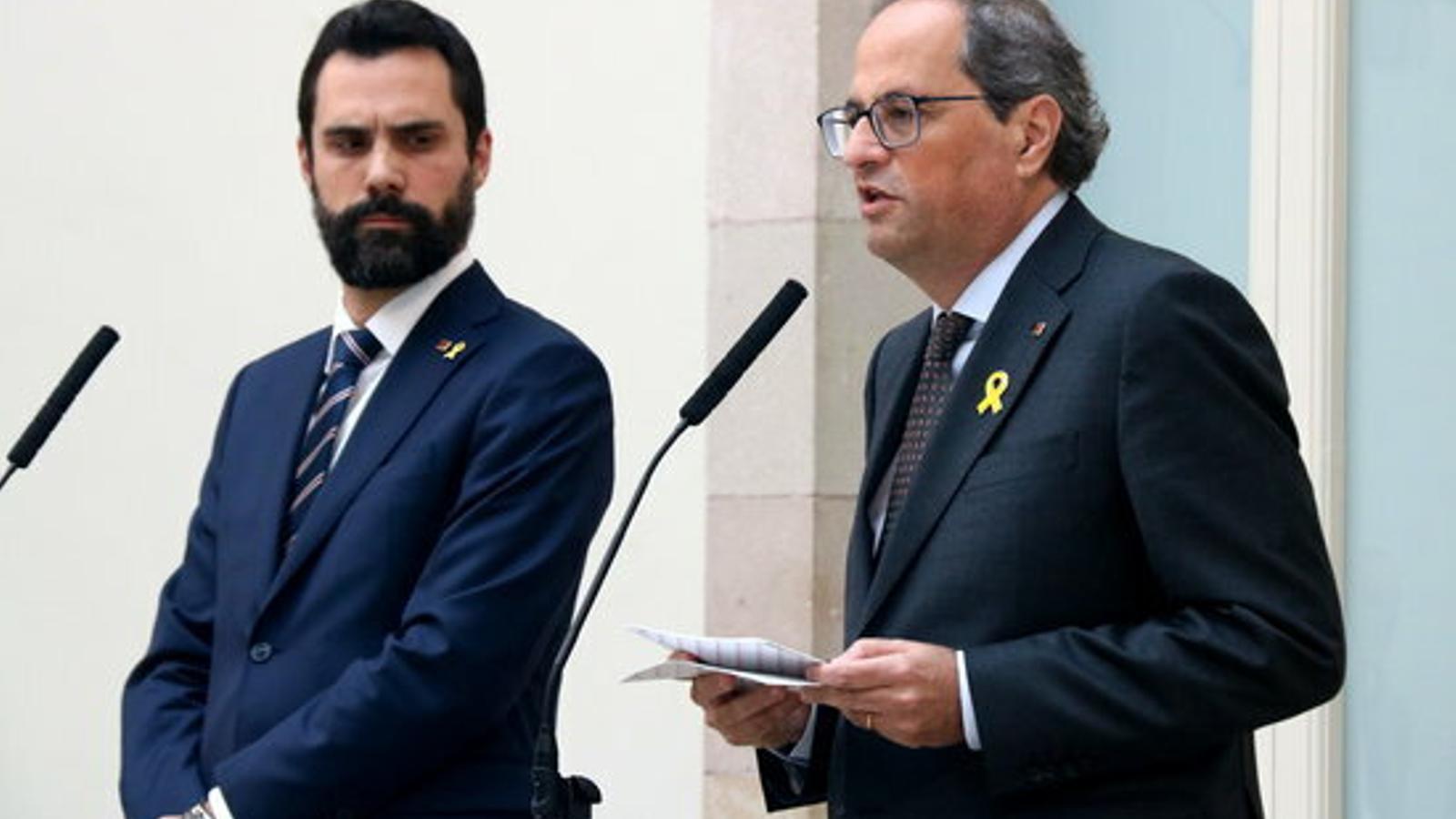 Torra demana a Torrent que el Parlament s'impliqui en la resposta a la sentència de l'1-O