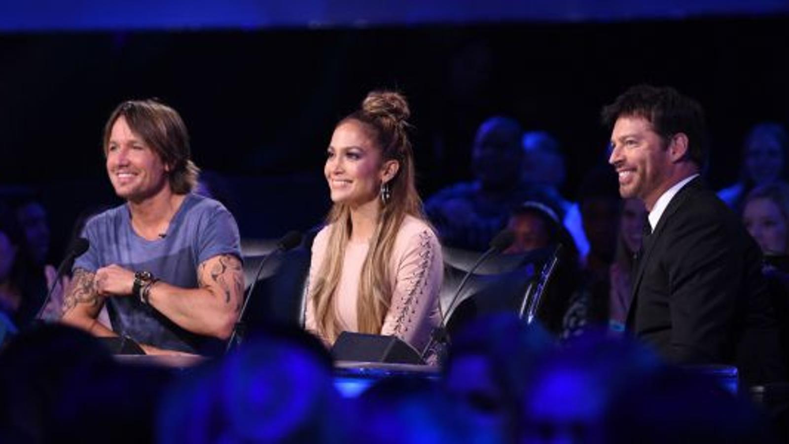 Els jutges d''American Idol' Keith Urban, Jennifer López i Harry Connick Jr.