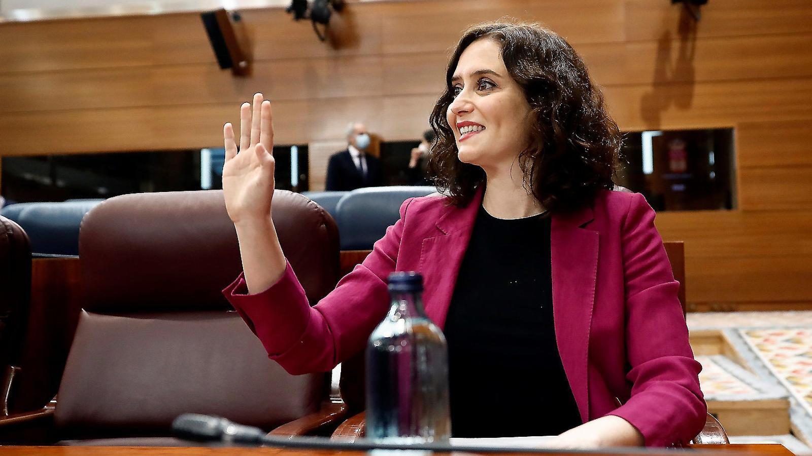Isabel Díaz Ayuso en el ple de l'Assemblea de Madrid.