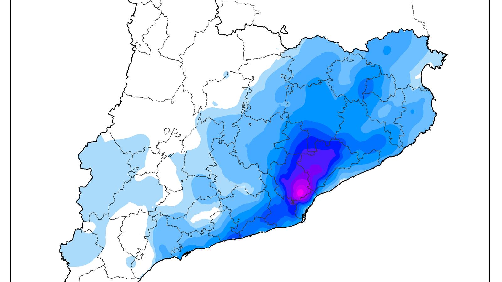 Mapa de la precipitació acumulada obtingut a partir de les dades dels pluviòmetres de la XEMA i la XOM del Meteocat