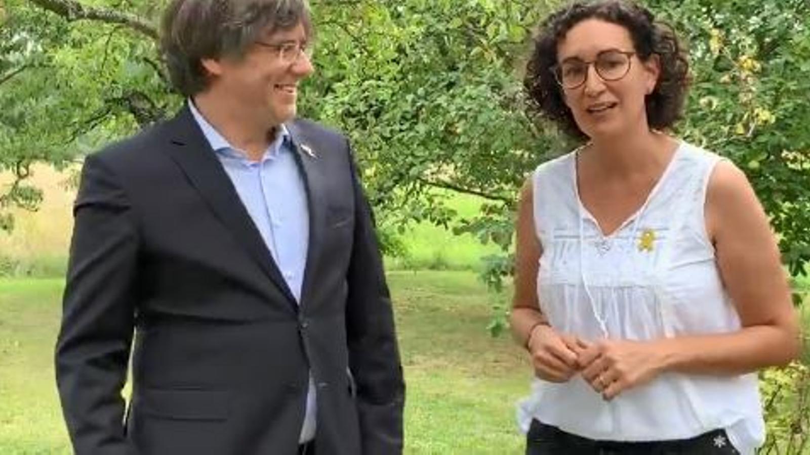"""Crida conjunta de Puigdemont i Rovira a participar a la Diada: """"Per més dura que sigui la sentència no aconseguiran que ens dobleguem"""""""