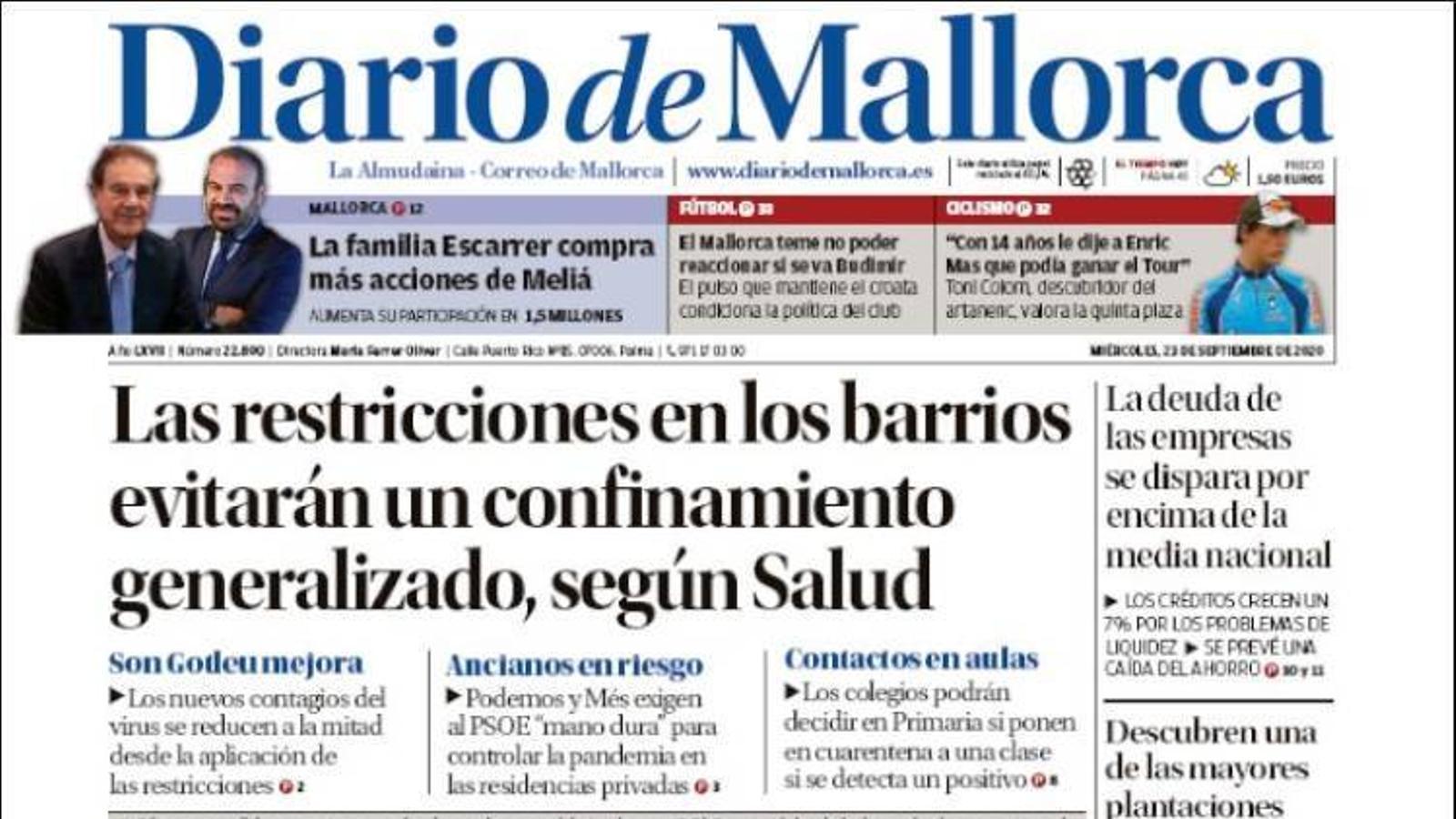 """""""Les restriccions als barris evitaran un confinament generalitzat, segons Salut"""", portada de 'Diario de Mallorca'"""