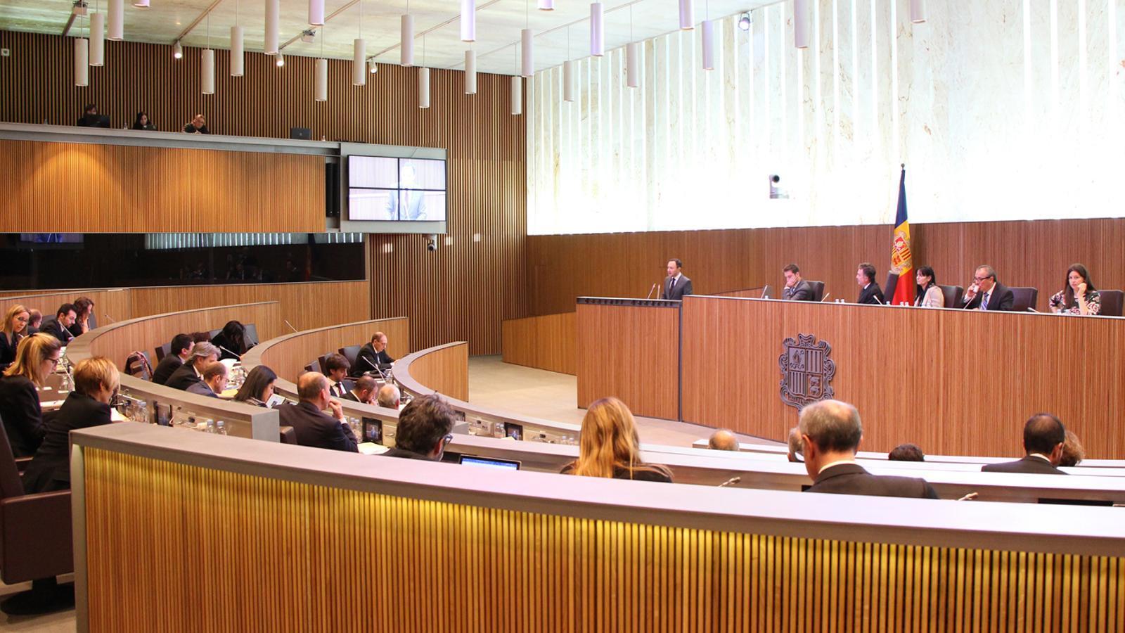 Una imatge general de l'hemicicle durant la intervenció del ministre d'Afers Socials, Justícia i Interior, Xavier Espot. / M. F. (ANA)