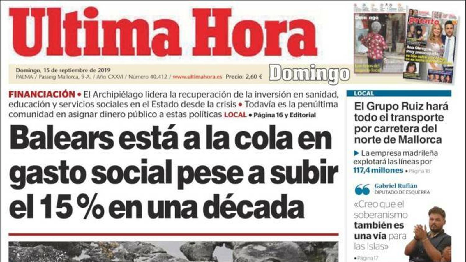 """""""Balears està a la cua en despesa social malgrat pujar el 15% en una dècada"""", porada de l''Última Hora'"""