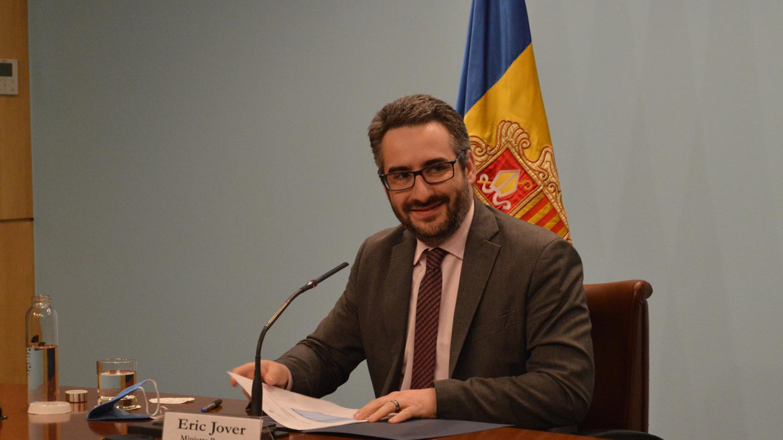 El ministre portaveu, Eric Jover, durant la roda de premsa d'aquest dijous. / M. F. (ANA)