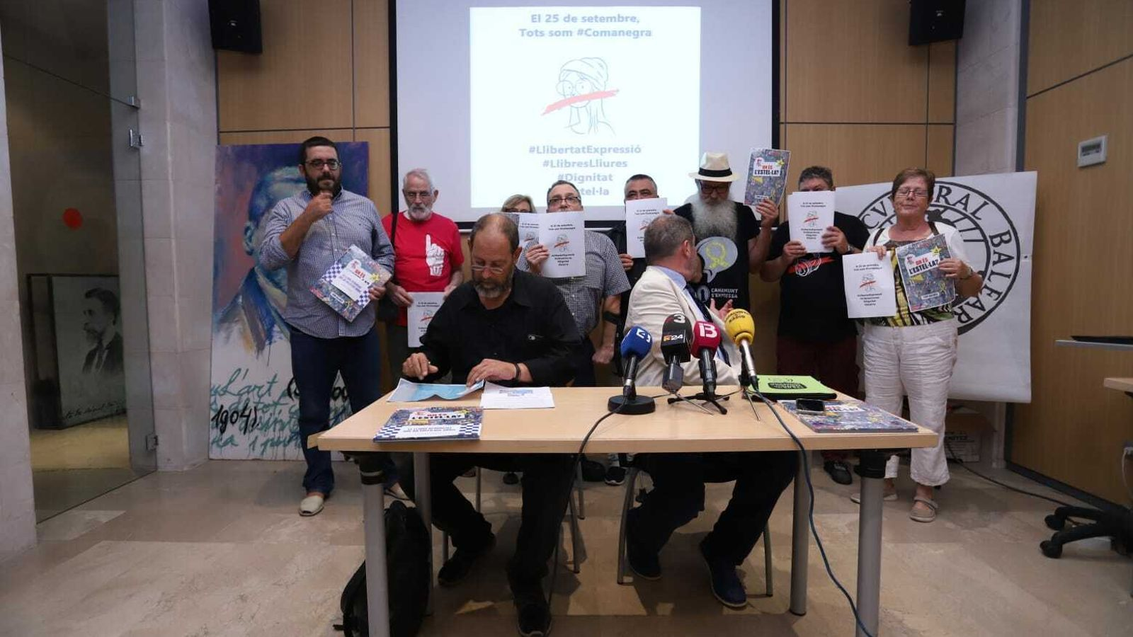 Imatge de la roda de premsa a Can Alcover