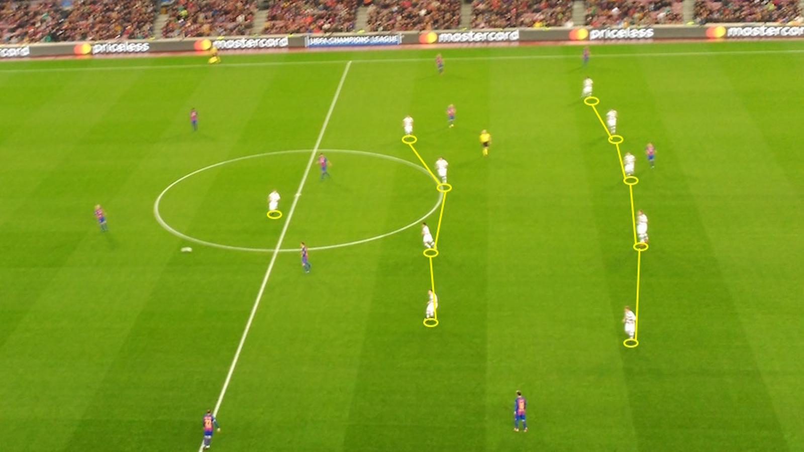 El Borussia Mönchengladbach es replega en un 5-4-1