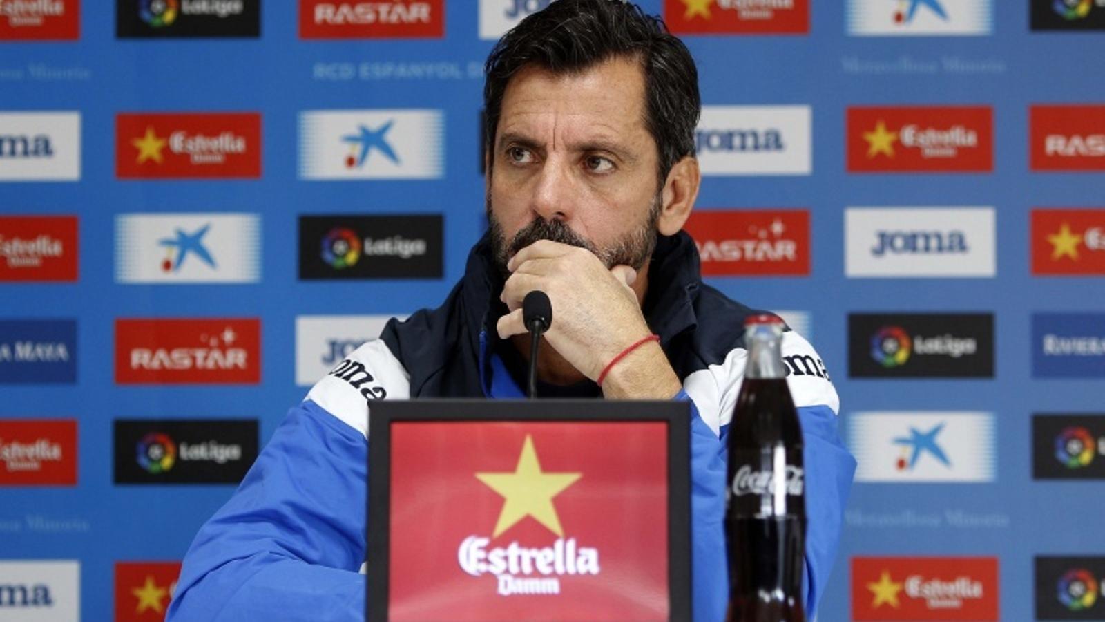 Quique Sánchez Flores, durant una roda de premsa a la Ciutat Esportiva Dani Jarque