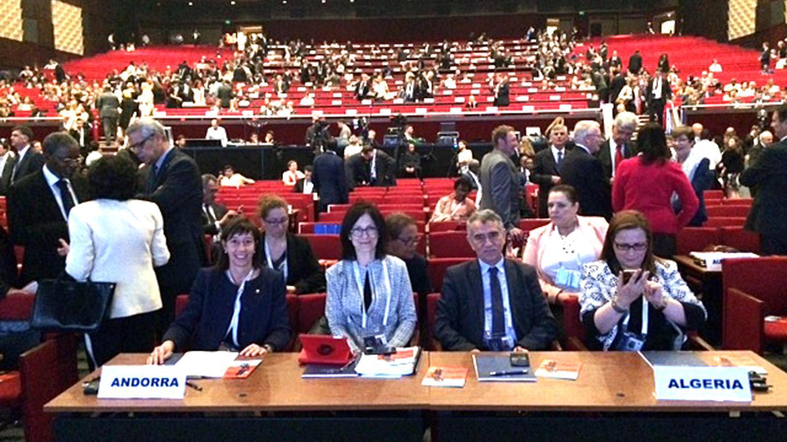 La secretària d'Estat de Justícia i Interior, Eva Descarrega, i l'ambaixadora d'Andorra a les Nacions Unides, Elisenda Vives