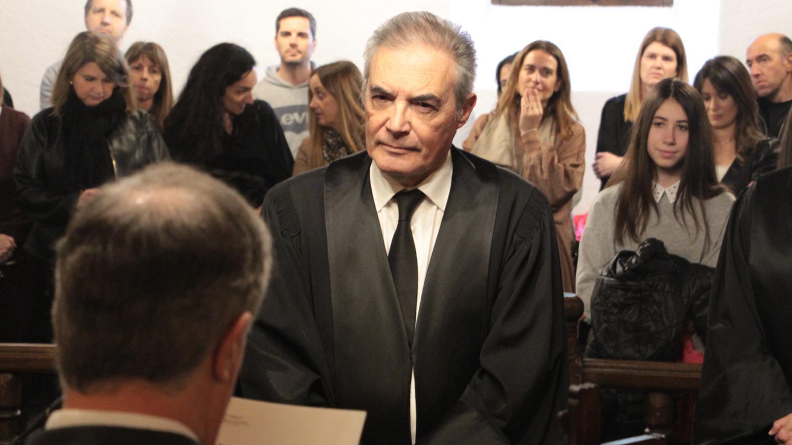 El magistrat Josep Maria Pijuan durant la renovació del seu càrrec. / M. P.