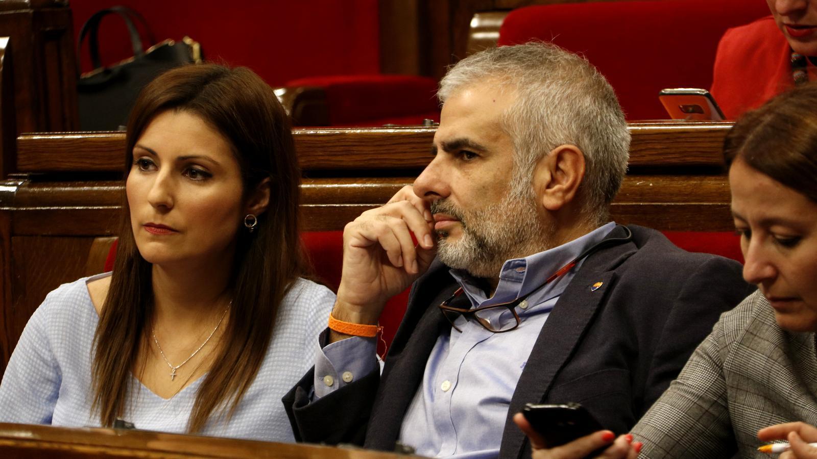 Els diputats Lorena Roldán i Carlos Carrizosa, aquest matí al Parlament