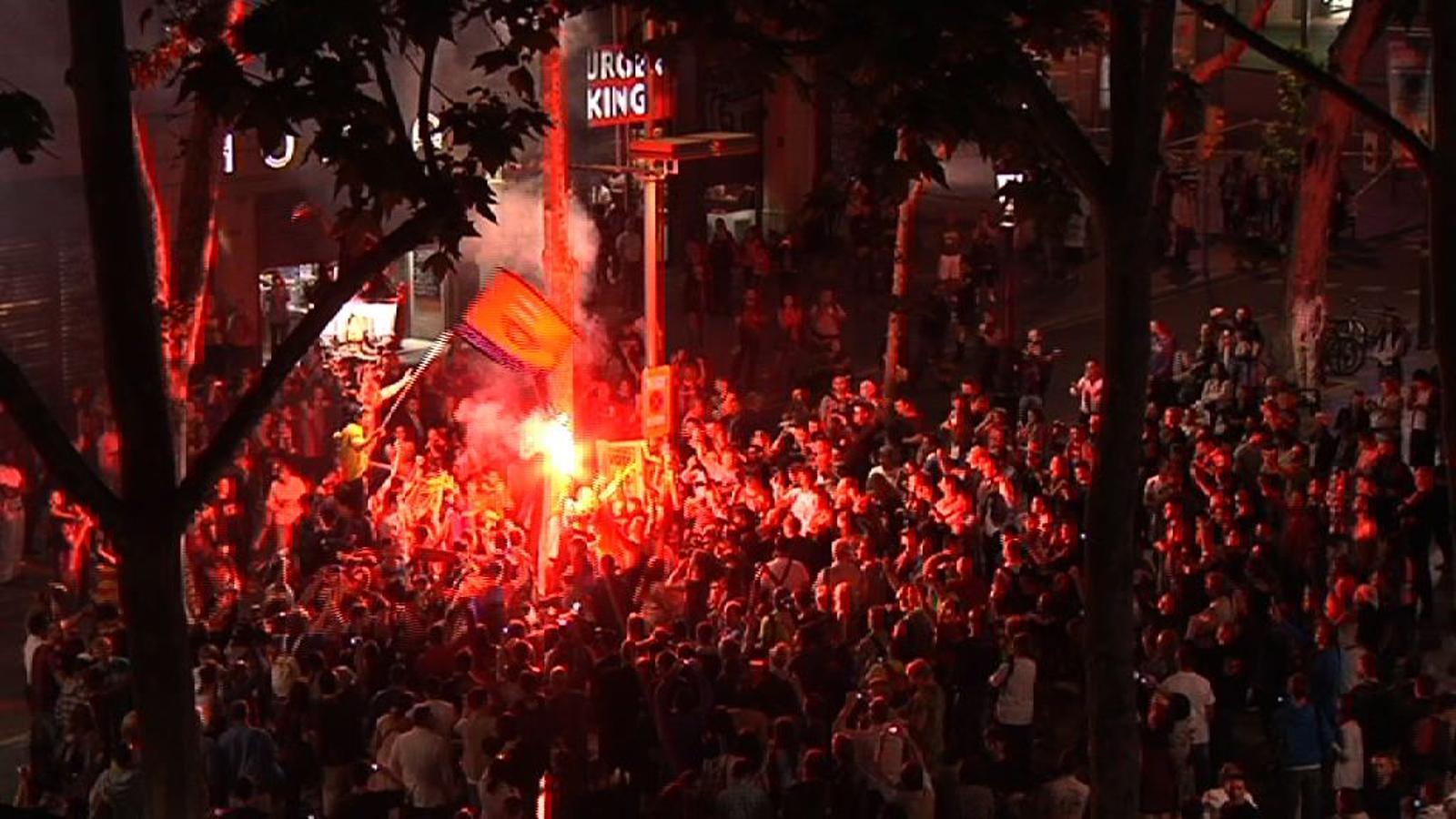 La celebració de la lliga a Canaletes
