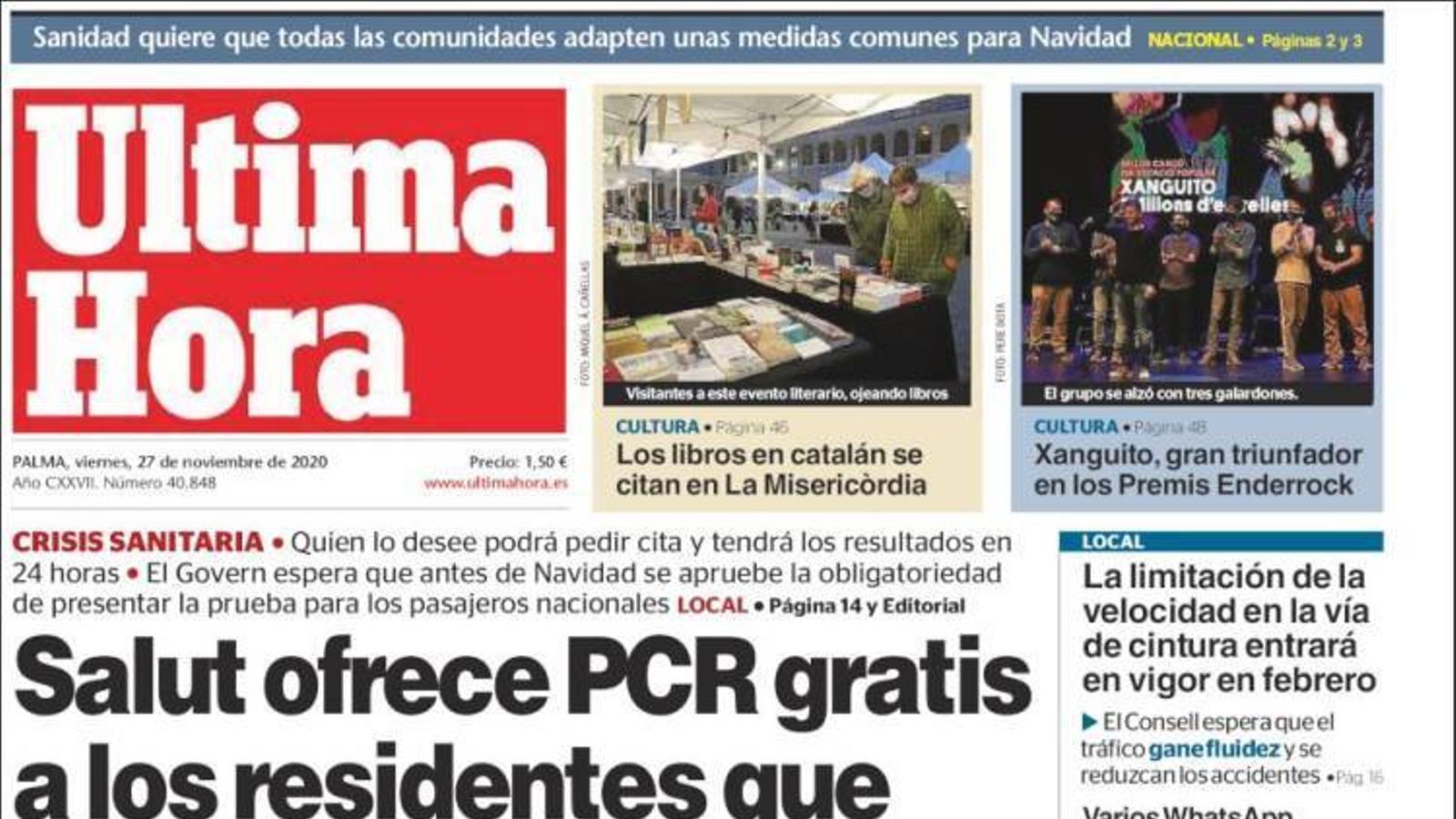 """"""" Salut ofereix PCR gratis als residents que tornin pel pont"""", portada d''Última Hora'"""