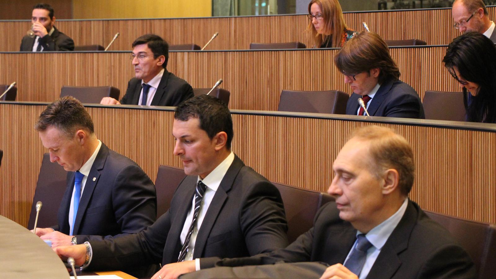 Els consellers generals liberals Josep Pintat, Jordi Gallardo i Ferran Costa.