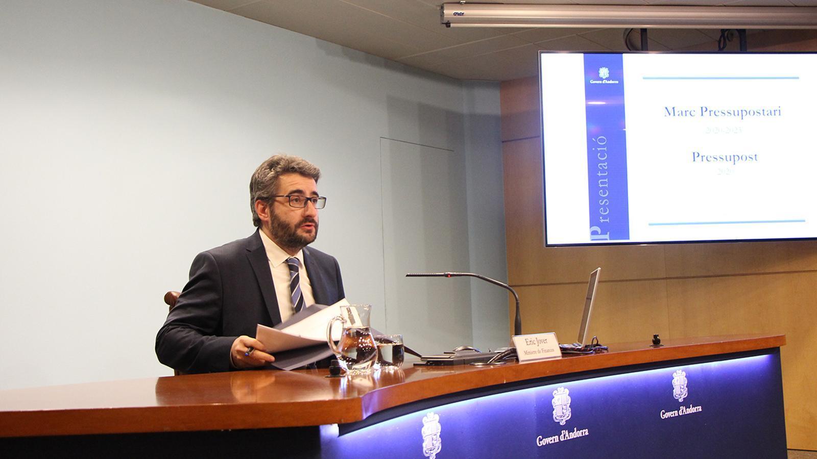 El ministre de Finances, Eric Jover, en la presentació del projecte de llei del pressupost 2020. / M. F. (ANA)