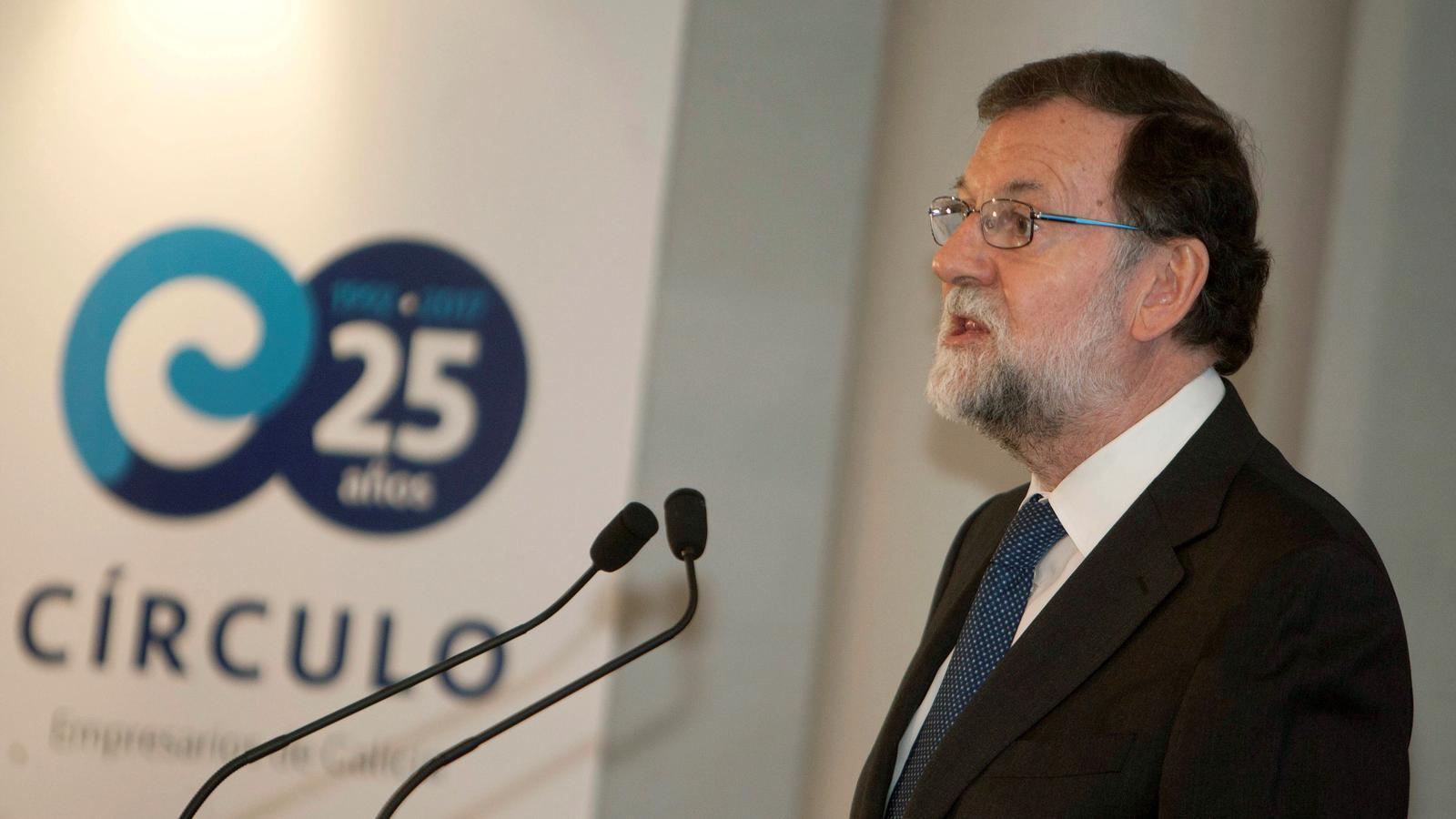 Rajoy durant la seva intervenció a Vigo aquest dilluns
