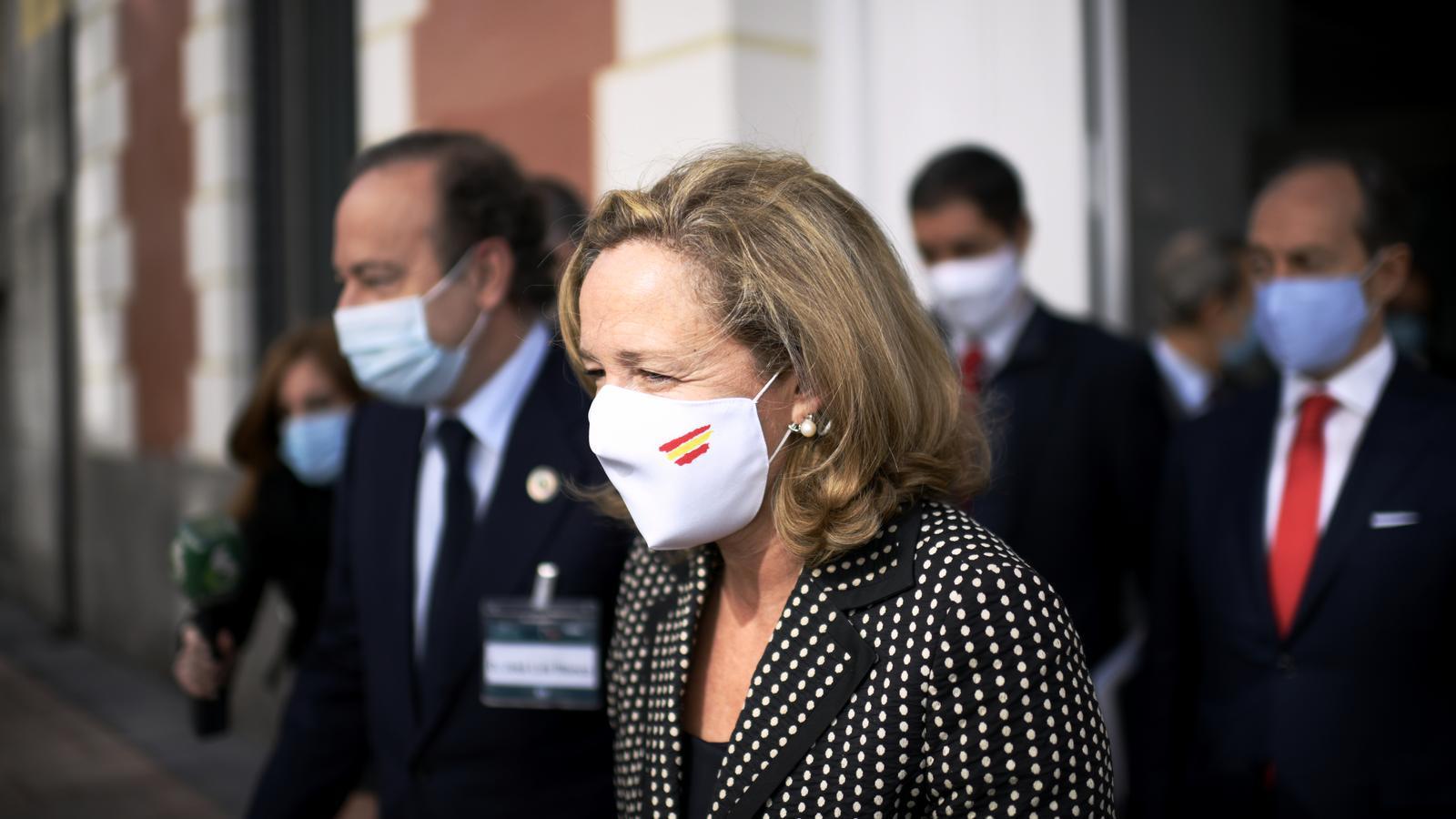 Nadia Calviño a la sortida de l'acte de clausura del Congrés de l'IEF.