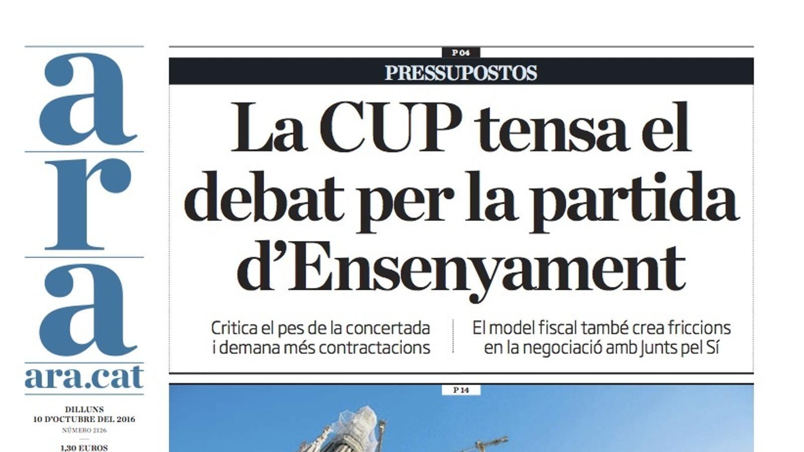 """""""La CUP tensa el debat per la partida d'Ensenyament"""", portada de l'ARA"""