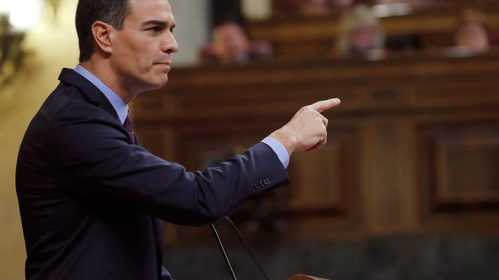 El president espanyol, Pedro Sánchez, ahir durant la seva intervenció al Congrés.