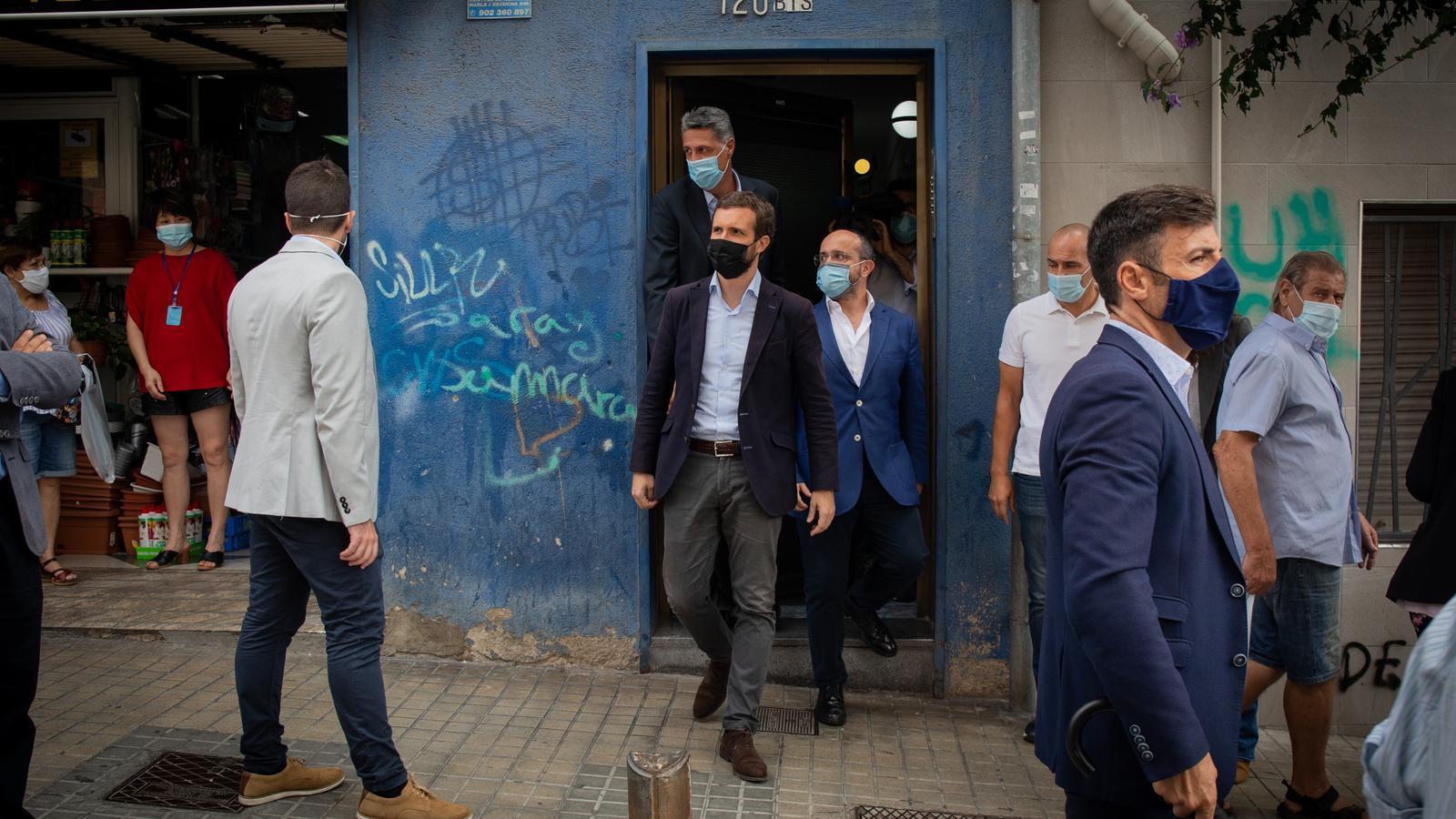 Els populars Pablo Casado, Alejandro Fernández i Xavier Garcia Albiol aquest dijous a Badalona.